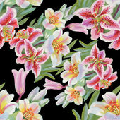 Colorful lily flowers seamless pattern — Stock Photo