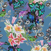 Seamless pattern with birds and lily — Stock Photo
