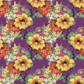 Seamless pattern with colorful flowers — Stock Photo