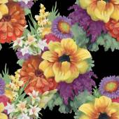 Seamless pattern with colorful flowers — Zdjęcie stockowe