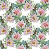 Seamless pattern with birds and lilies — Stock Photo