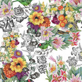 Birds with flowers seamless pattern — Stock Photo