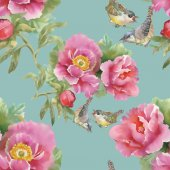 Birds and pink flowers — Stock Photo