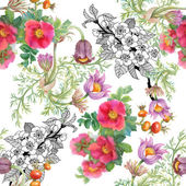 Watercolor wildflowers background — Stock Photo