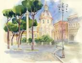 Watercolor street in town — Stock Photo