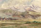 Watercolor river nature landscape — Stock Photo