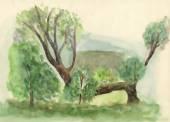 Watercolor  nature landscape — Stock Photo