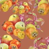 Yaprakları ve elma ile Trabzon hurması — Stok fotoğraf