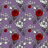Red and white roses seamless pattern — Zdjęcie stockowe