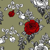 Red and white roses seamless pattern — Stock Photo