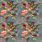 Seamless pattern with birds and flowers — Stock Photo