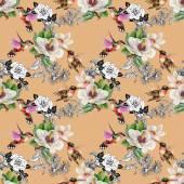Aves exóticas com flores — Fotografia Stock