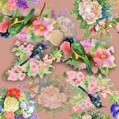 Exotic birds with flowers — Stock fotografie