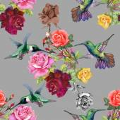 Exotic birds with flowers — Stock Photo