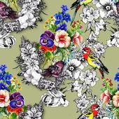 Exotic birds with flowers — Foto de Stock