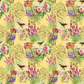 Exotic birds with flowers — Fotografia Stock