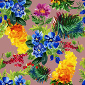 Colorful garden flowers pattern — Stock Photo