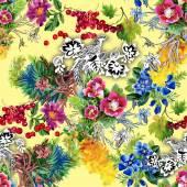 Bažanti se květiny barevný vzor — Stock fotografie