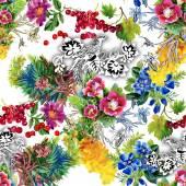 Faisões com padrão colorido de flores — Fotografia Stock
