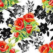 Poppy and iris flowers pattern — Stock Photo