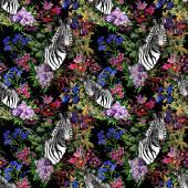 Garden flowers and zebra head — Foto de Stock