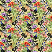 Poppy and iris flowers pattern — Stock Photo