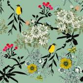 Birds on twigs seamless pattern — Stock Photo