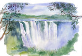 Watercolor beautiful waterfall — Stock Photo