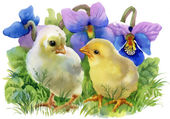 Yellow Watercolor chickens — Stock Photo