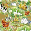 Watercolor ducklings, chickens and hares — Stock Photo #67842779