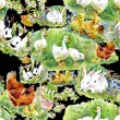 Watercolor ducklings, chickens and hares — Stock Photo #67842793