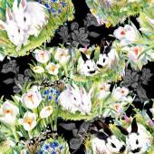 Watercolor rabbits pattern — ストック写真