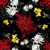 Colorful garden flowers with birds — 图库照片