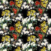 七彩花园花朵与鸟 — 图库照片