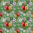 Colorful roses and butterflies pattern — Stock Photo #69026929