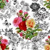 Colorful roses and butterflies pattern — Stock Photo