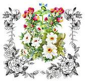 Garden floral frame pattern — Stock Photo