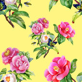 Garden floral pattern with butterflies — Stock Photo