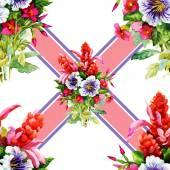 Watercolor garden flowers bouquet — Stock Photo