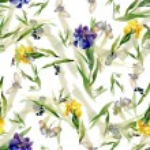 Watercolor iris flowers pattern — Stock Photo #70346275
