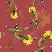 Watercolor iris flowers pattern — Stock Photo