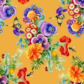 Garden flowers with butterflies — Stock Photo