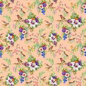 野生鸟类和鲜花 — 图库照片