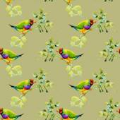Birds on garden floral twigs — Stock Photo