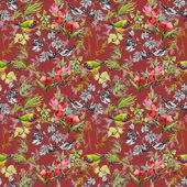 Aves con flores del jardín — Foto de Stock