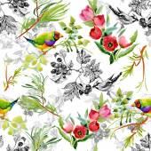 Birds with garden flowers — Stock Photo