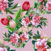 Summer garden flowers pattern — Stock Photo