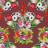 Summer garden flowers pattern — Stock Photo