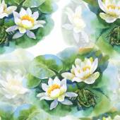 White water-lilly flowers pattern — Stock Photo