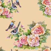 Pink Rose flowers with birds — Stock Photo